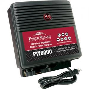Power Wizard Electric Fence Energizer Charger, PW6000, 110V Plug-In, 6 Joule Output