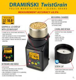 Draminski Twist Grain Moisture Meter, Field Pocket Size LCD